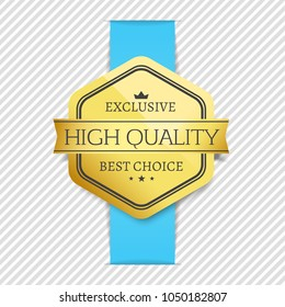 Exclusive high quality best choice golden award guarantee label logo isolated on striped background gold stamp vector illustration sticker with crown