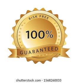 Exclusive and majestic 100% risk free guarantee golden badge design