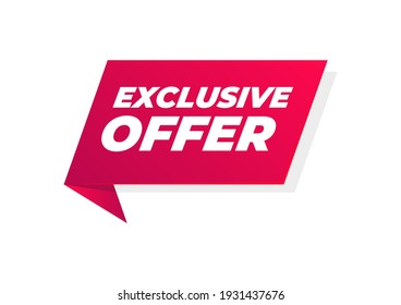 Exclusive offer banner. Special offer price sign. Advertising discounts symbol.
