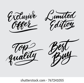 Exclusive offer and limited edition handwriting calligraphy. Good use for logotype, symbol, cover label, product, poster title or any graphic design you want. Easy to use or change color