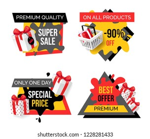 Exclusive products, hot sale discounts offers vector. Basket with gifts boxes, clearance and promotion, exclusive products sellout. Shop proposals