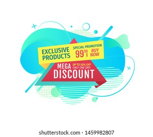 Exclusive products vector, mega discount promotional banners of shops in flat style. Coupon for shopping on reduced prices. Super sale offer cost