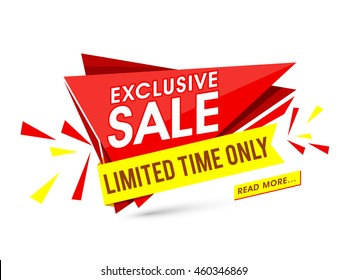 Exclusive Sale for limited time only, Creative Paper Tag, Poster, Banner or Flyer design, Vector illustration.