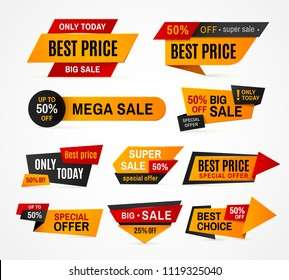 Exclusive sale supermarket price promo tag super mega big sales campaign special offer discount colorful shop pricing marketing label vector sticker isolated icon illustration set