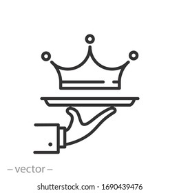 exclusive service icon, premium class offer, vip privilege, crown on a tray, thin line web symbol on white background - editable stroke vector illustration eps10