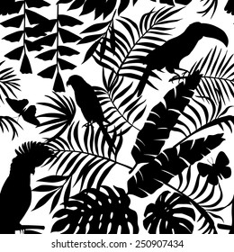 Exclusive silhouette paradise tropic jungle of plants and birds. Trendy animal toucan, parrot, macaw, butterfly and leaves of banana palm. Seamless vector pattern in black style on a white background