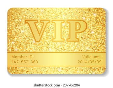 Exclusive VIP club card composed from golden glitters