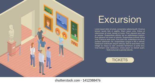 Excursion concept background. Isometric illustration of excursion vector concept background for web design