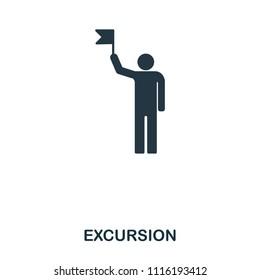 Excursion icon. Mobile app, printing, web site icon. Simple element sing. Monochrome Excursion icon illustration.