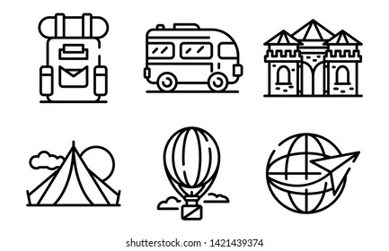 Excursion icons set. Outline set of excursion vector icons for web design isolated on white background