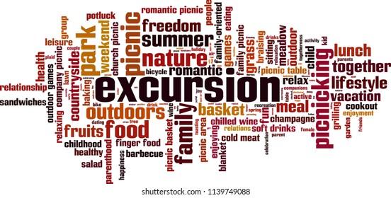 Excursion word cloud concept. Vector illustration