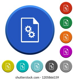 Executable file round color beveled buttons with smooth surfaces and flat white icons
