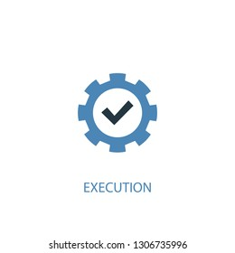 execution concept 2 colored icon. Simple blue element illustration. execution concept symbol design. Can be used for web and mobile UI/UX