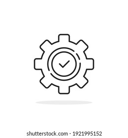 execution logo like thin line gear with checkmark. flat linear trend modern production logotype graphic stroke art design isolated on white. concept of implement productivity or problem solution