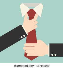 Executive adjusting red tie