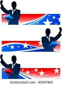 Executive Businesswomen with Patriotic Banners Original Vector Illustration