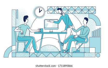 Executive managers working process silhouette vector illustration. Coworkers brainstorming, making decisions outline characters on white background. Employees communication simple style drawing