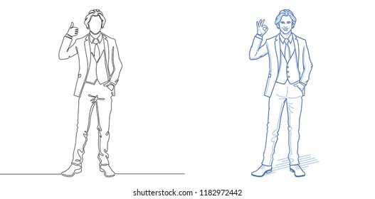 Executive men. Office workers. Business people. Continuous line drawing. One line drawing. Cartoon character in doodle sketch style. Vector illustration.