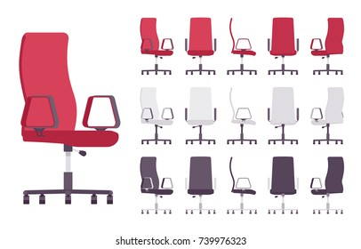 Executive office chair furniture set. Comfy seat with modern look, support and stability at working place. Vector flat style cartoon illustration isolated on white background