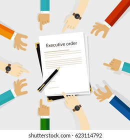 executive order president authority regulation paper and pen to be signed diversity participation hands around