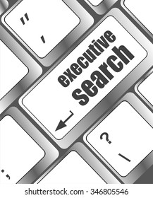 executive search button on the keyboard close-up, vector illustration