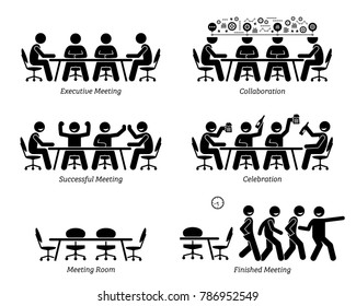 Executives having effective and efficient meeting and discussion. The businessmen have good collaboration, a successful meeting, and celebration. They finished the meeting earlier than expected.