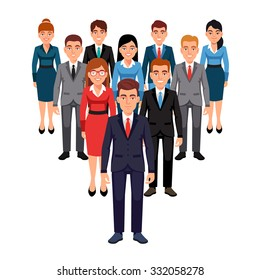 Executives team standing in form of triangle pyramid behind their leader. Leadership concept. Flat style vector illustration isolated on white background.