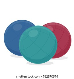 Exercise ball, cartoon illustration of gym equipment for home exercise. Vector