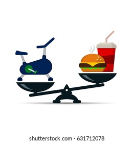 Exercise bike and fast food on scales, vector icon loss weight concept color illustration.