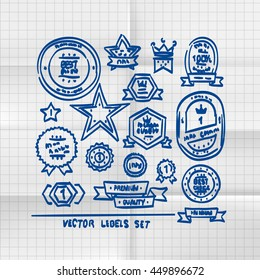 Exercise book sketch of hand drawn labels, template design element. Vector illustration