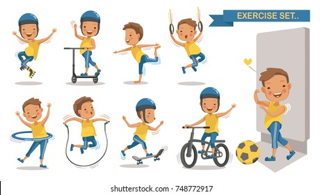 Exercise boy set with play football, rope jumping, Roller Blade, Scooter, yoga,hang, hung, Hula Hoop, Skateboarding, cycling. Cartoon character design. Vector illustrations.Isolated white background