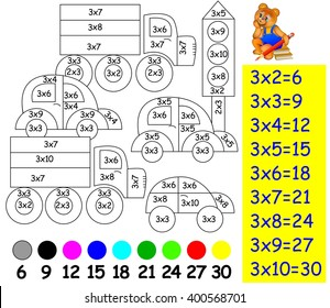 Exercise for children with multiplication by three - need to paint image in relevant color. Developing skills for counting and multiplication. Vector image.