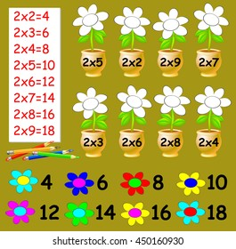 Exercise for children with multiplication by two - need to paint the flowers in relevant color. Developing skills for counting. Vector image.
