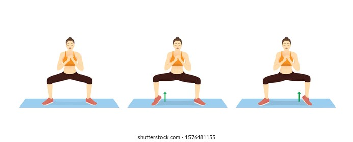 Exercise Diagram about Sumo Squat With Calf Raises switch sides in 3 step with woman. Illustration about workout for fat leg reduction.