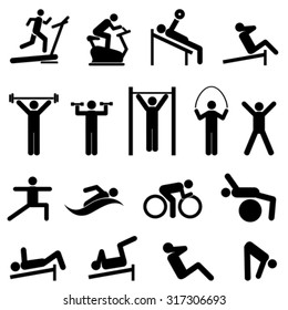 Exercise, fitness, health and gym icon set