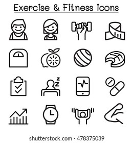 Exercise & Fitness icon set in thin line style