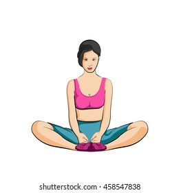 exercise for good health of young beautiful woman in sportswear, vector illustration.