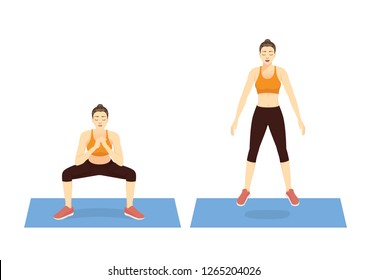 Exercise guide by Woman doing squat jump in 2 steps on mat for strengthens entire lower body. Illustration about workout.