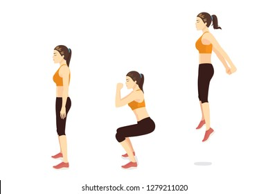 Exercise guide by Woman doing squat jump in 3 steps in side view for strengthens entire lower body. Illustration about workout.