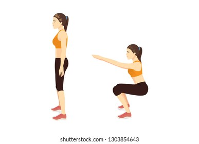 Exercise guide by Woman doing air squat in 2 steps in side view. Illustration about workout position introduction.