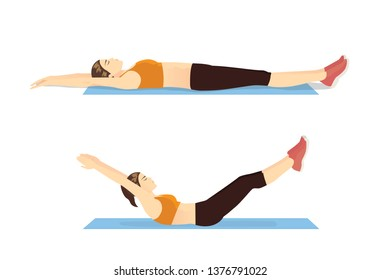 Exercise guide by Woman doing Hollow Body Hold in 2 steps on blue mat. Illustration about workout posture introduction.