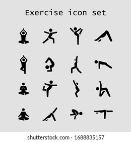 Exercise icon set. Flat vector graphic.