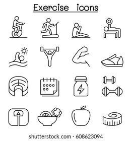 Exercise icon set in thin line style