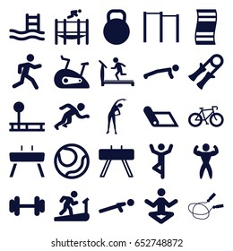 Exercise icons set. set of 25 exercise filled icons such as exercising, treadmill, jump rope, barbell, push up, running, trampoline, bodybuilder, kettle, gymnastic apparatus