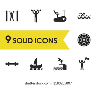 Exercise icons set with swimming, flag-bearer and aim elements. Set of exercise icons and pullups concept. Editable vector elements for logo app UI design.