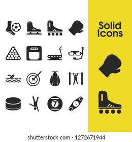Exercise icons set with tourniquet, boxing helmet and sport watches elements. Set of exercise icons and knockout concept. Editable vector elements for logo app UI design.