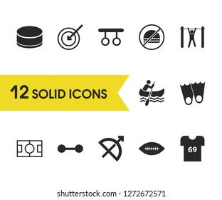 Exercise icons set with t-shirt, bow and tourniquet elements. Set of exercise icons and dart concept. Editable vector elements for logo app UI design.