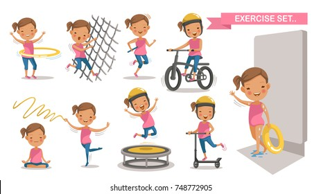 Exercise Little girl set. Sport Kids with play swimming In the swimsuit holds a rubber ring. Climbing net, Running, cycling, Hula Hoop, yoga,Trampoline, Scooter. character design. Vector Isolated