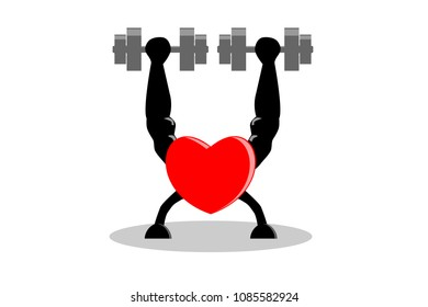 Exercise make heart healthy and stronger concept. Red heart building muscle and strength by lifting dumbbells in both hands , isolated on white (transparent) background. Vector illustration, EPS10.