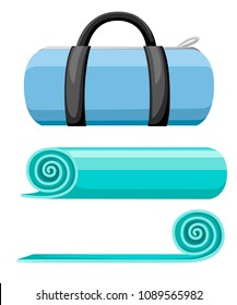 Exercise mat and sports bag. Rolled and open turquoise yoga mat. Vector illustration isolated on white background.